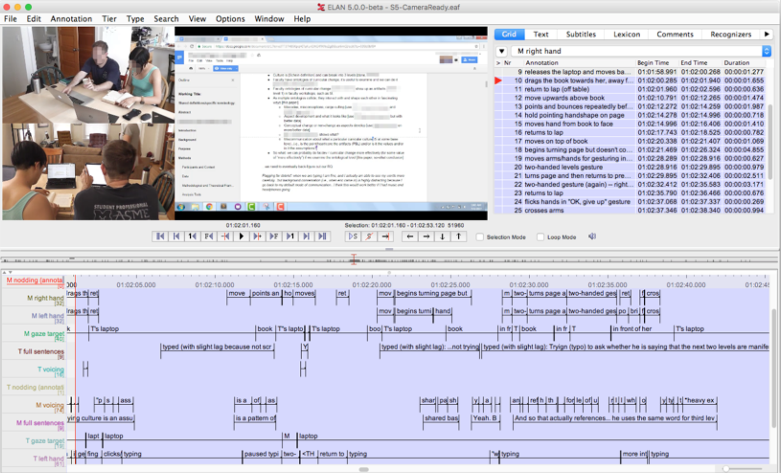 A figure of the video analysis software that was included in the methods section of the research paper. The video frame is of a Deaf-hearing dyad collaborating next to each other in front of their laptops. There is also a screenshot of their shared Google Doc in the video.
